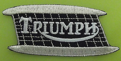 Embroidered cloth patch ~ Triumph mouth organ tank logo.  B021103