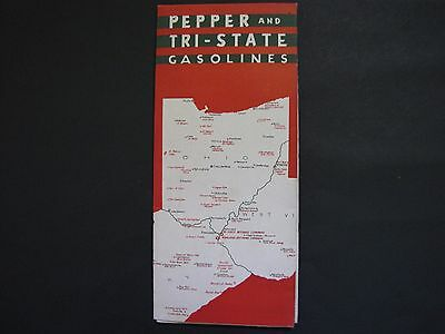 Vintage Pepper Tri - State Gasoline Oil Road Map Ashland Refining Ohio Kentucky