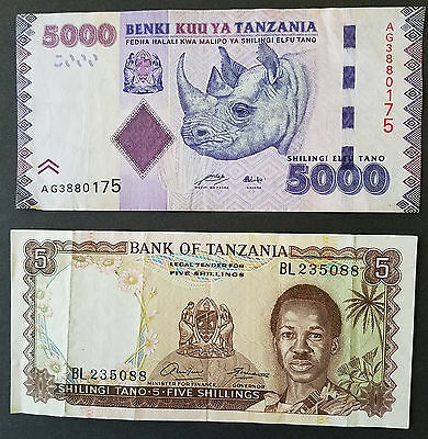 Tanzania 5 & 5000 Shillings Banknotes Paper Money World Africa