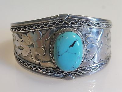 Vintage Chinese Sterling Silver And Turquoise Floral Cuff Bracelet