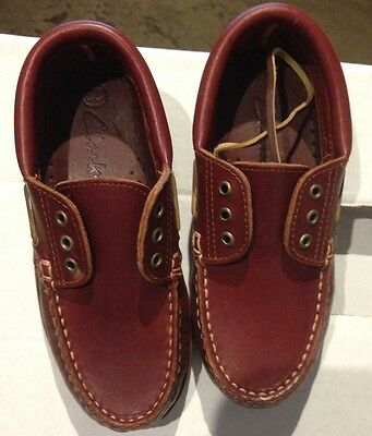 NWOB Clarke Children's Boat Shoe. Tan. Size 32. Rubber Sole
