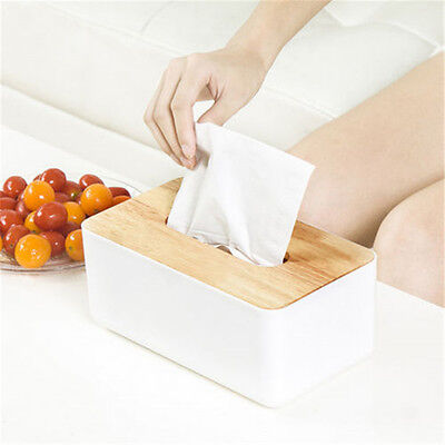 HOT Plastic Home Room Car Hotel Tissue Box Wooden Cover Paper Napkin Holder Case