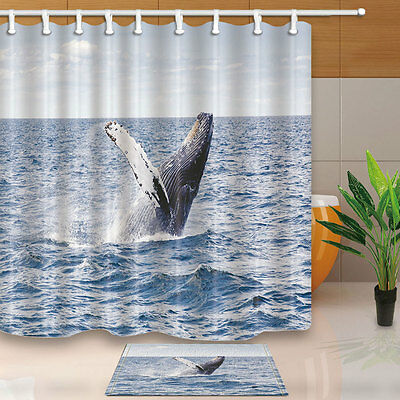 Humpback whale Shower Curtain Bathroom Waterproof Fabric & 12Hooks 180*180cm