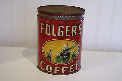 Vintage Folger's Two Pound Coffee Can Tin Sailing Ship 1931 Golden Gate