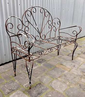 Vintage Antique Wrought Iron Decorative Garden Patio Bench Seat Frame Coburg Mel