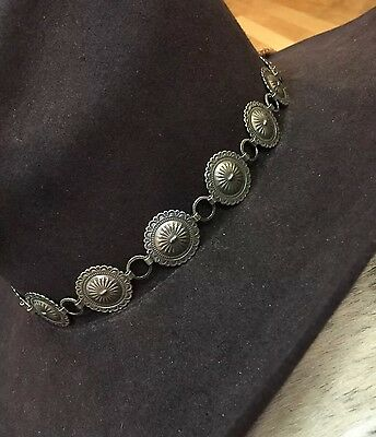GERMAN SILVER STAMPED CONCHO Handmade Hatband HAT BAND ANY COLOR DEERSKIN