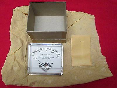 NOS Beede Electrical Inst. Co. 0-200 D.C. microamperes uA flat panel meter NEW!