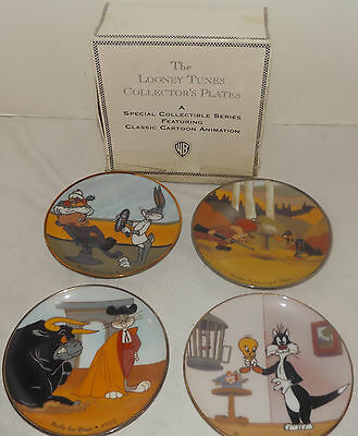 1993 Warner Bros Looney Tunes Collector's Plates Classic Cartoon Animation Set 4