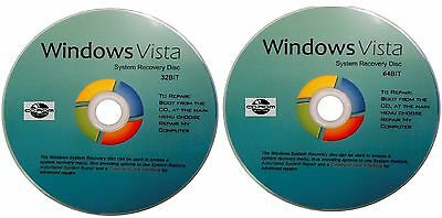 WIN Vista 32 & 64 Bit Repair Recovery System Software Disc's x 2 - 2017!