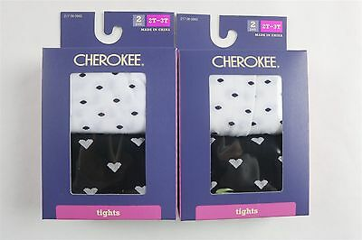 Lot of  4 Pairs CHEROKEE Toddler Girls Opaque Tights BLACK & WHITE 2T-3T New