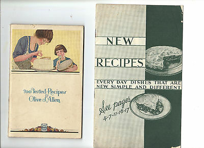 Crisco P&G Vintage Cookbooks 1930s New Recipes & 200 Recipes by Olive J Allen
