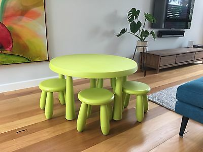 IKEA Mammut Lime Green Round Table plus 4 matching stools