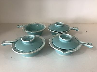 Set Of 4 Vintage Hull CRESTONE Aqua DRIP GLAZE HANDLED COVERED BOWL