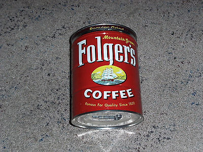 Nice 1959 Vintage Folgers 2 Lb.coffee Can With Lid Key Still Attached To Bottom