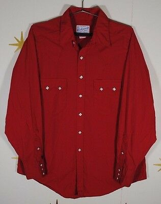 Vintage Mens ROCKMOUNT Red Diamond Snap Rockabilly Western Shirt 16.5 Large