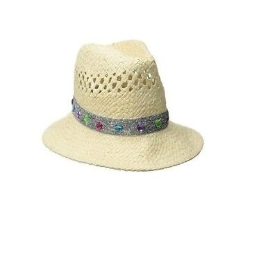 LIMITED TOO Girls Natural Silver Glitter Jewel Band Fedora Hat One Size
