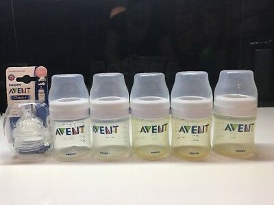 5x Avent Bottles + 2x Variable Flow Teats