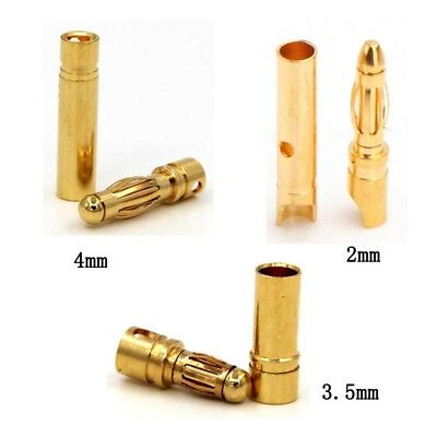 2/3.5/4mm 1 Pairs Amass Banana Plug 35A Thick Gold Plating 7u Model Motor UK