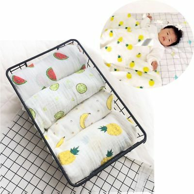 Lovely Cotton Swaddle Muslin Blanket Baby Wrap Breathable Swaddle Fruits Print