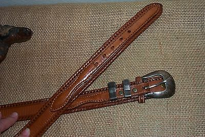 """LEEGIN   Leather Belt  With Signed STERLING SILVER BUCKLE & 2 loops  Size 38"""""""