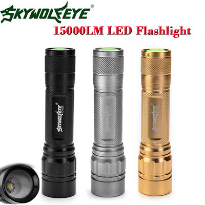 15000LM 3-Modes Flashlight Torch T6 LED 18650 Battery Zoomable Torch Lamp Light