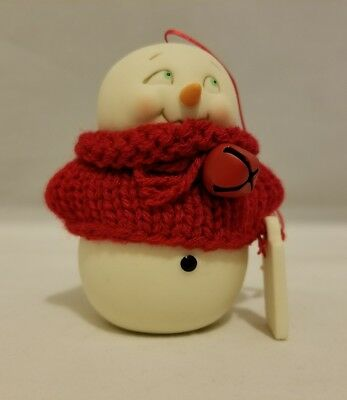 Department 56  Snowpinions About to Unravel Christmas Ornament Snowman Red Bell
