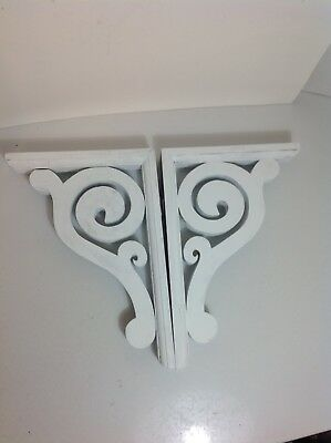 Victorian Gingerbread Wood Corbel Shabby White Chalk Painted