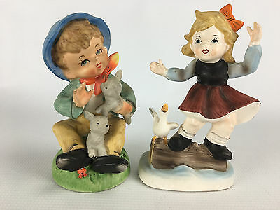 Vintage Hummel Style Boy with Lamb and Girl with Duck Goose Figurines Set of 2