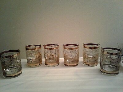 Set of 6 Neiman Marcus? 10 Year Gold Cash Price London Rocks Glasses 1969-1978