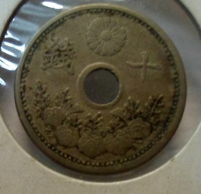 Japanese 10 Sen Coin Dated 1921 Youy Grade Please