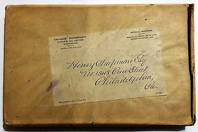 1915 Report of Director of the Mint w/ Treasury envelope addressed Henry Chapman