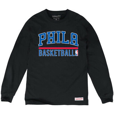 Philadelphia 76ers Mitchell & Ness NBA Stacked Long Sleeve T-Shirt - Black