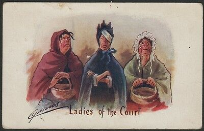 k2073)         ARTIST SIGNED EARLY 1900's COMIC POSTCARD   LADIES OF THE COURT
