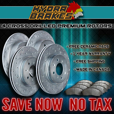 FITS 2009 2010 2011 2012 TOYOTA VENZA Drilled Brake Rotors CERAMIC F+R SILVER