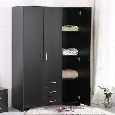 Black Plain Wardrobe 3 Doors Hanging Rail Top Shelf Bedroom Furniture Set