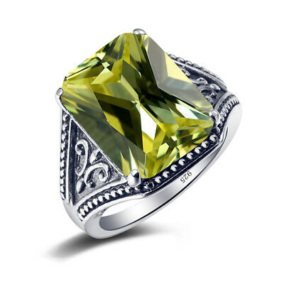 Vintage Olivine Peridot Semi-precious Stone Women Ring Real 925 Sterling Silver