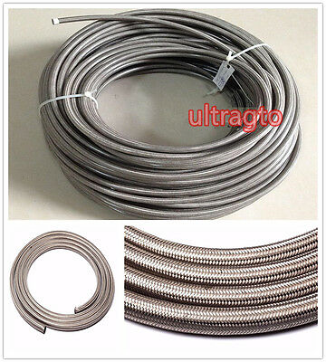 AN 8 -8AN Stainless Steel Braided Turbo Fuel / Oil Line Hose AN8 Silver 1 Feet