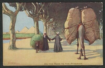e156)     TUCK HUMOUR IN EGYPT COMIC/ART POSTCARD::  ON THE ROAD TO THE PYRAMIDS
