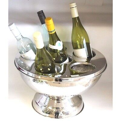 Stainless Steel Bowl Bucket Champagne Wine Cooler Container Ice Divided Lid Top