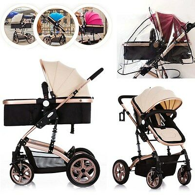 Luxury 3In1 Fordable Baby Stroller Pram Buggy Pushchair Travel System W/ Awning