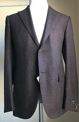 New $2495 Ermenegildo Zegna Sport Coat Blazer Brown/Red 40C US ( 50C Eur ) Italy