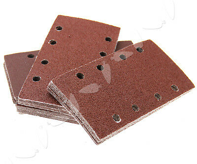 50 Pieces 93mm X 185mm 8 Holes Mixed Grit Sanding Sandpaper Sheets Pads