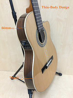 Miguel Rosales C-3BCEQ/CR Thin Body Solid Cedar Top Classical Guitar,Fishman EQ