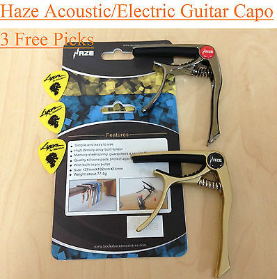2 x HAZE Acoustic/Electric Guitar Capo,pin puller |Gold+Tungsten| +3 Free Picks