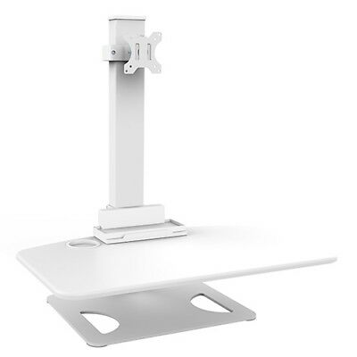 Premium DWS03-T01WH Premium Single Display Sit and Stand Desktop Workstation. WH
