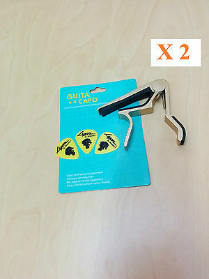Quick Change Acoustic Guitar Capo x 2, Golden,  with 3 free picks each