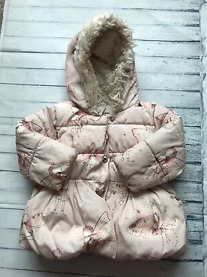 Baby  Girls Next Padded Fleece Lined Hooded Coat Jacket 12-18 Months