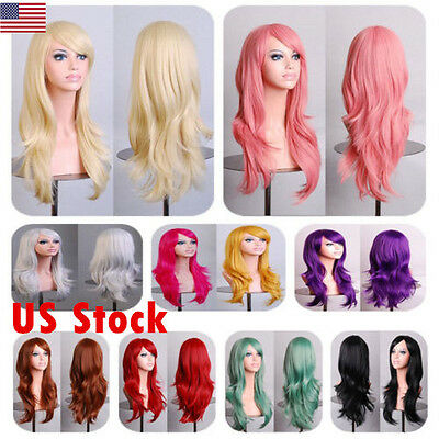 US High Quality Full Wig Anime Long Curly Wavy Synthetic Hair for Party Cosplay