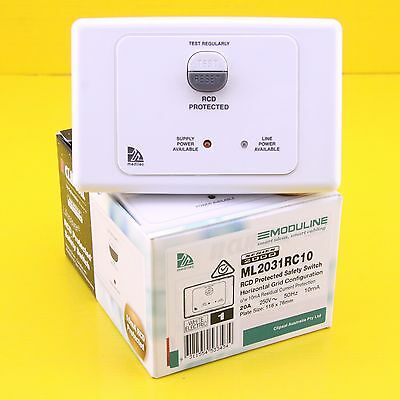 Clipsal ML2031RC10 RCD Protected Safety Switch 250Vac 20A 2P Horizontal  - White