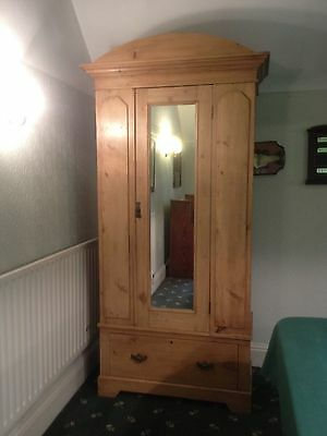 antique pine wardrobe with mirror and bottom drawer